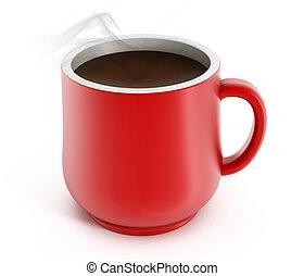 Coffee mug - Red coffee mug isolated on white background.