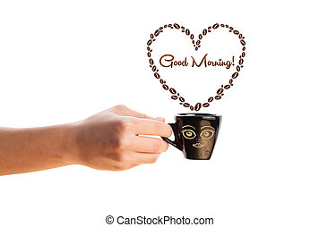 Coffee mug with coffee beans shaped heart with good morning sign, isolated on white