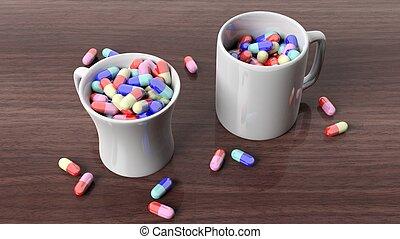 Coffee mugs full of pills,on wooden desktop.
