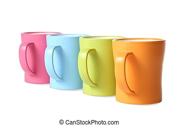 Coffee Mugs in Colors - Multi-color coffee or hot drink mugs...