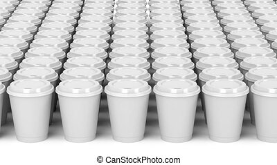 Coffee - Multiple rows with paper coffee cups
