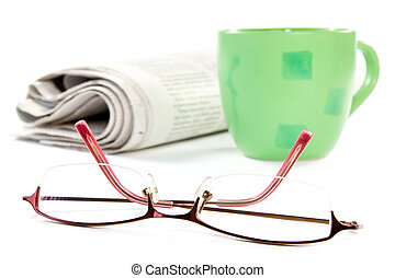 coffee, newspaper and glasses