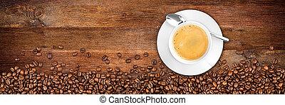 coffee old oak background