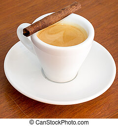 coffee on a wooden table in coffee shop