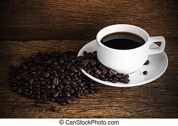 coffee on old wood