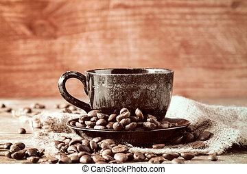 Coffee on piece of sackcloth