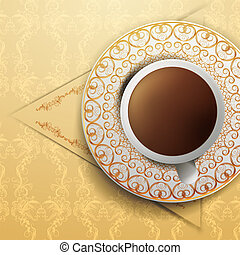 coffee on vintage background.