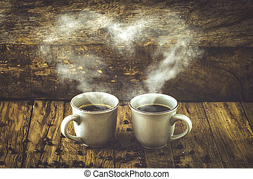 Coffee on wood - Coffee. Cup of turkish coffee with sugar....