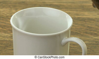 Coffee on wood table