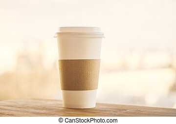 Coffee on yellow background