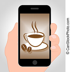 Coffee Online Means Caffeine Cafe 3d Illustration