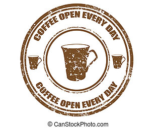 Coffee open every day-stamp - Grunge rubber stamp with text...