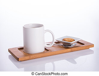 coffee or coffee with cookies on background.