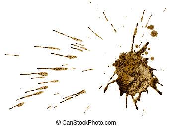 Coffee or mud splash isolated on white background. Clipping...