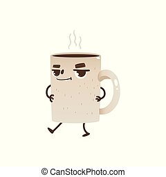 Coffee or tea cup cartoon character dancing and smiling - joyful mug with hot drink and steam.
