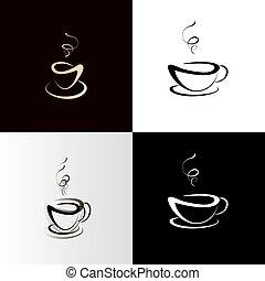 Coffee or tea cup set. Vector illustration, coffee icon