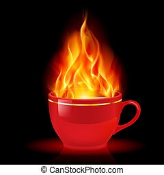 Coffee or tea cup with fire. Illustration on white...
