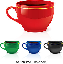 Coffee or tea cups - Colorful coffee/tea cups set.