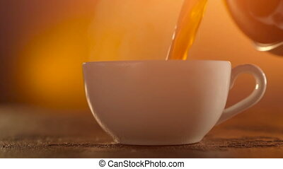 Coffee or Tea. whiteCup of hot beverage with Steam - Coffee...