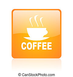 coffee orange square glossy web icon