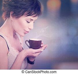 coffee., ou, girl, thé, café buvant, beau