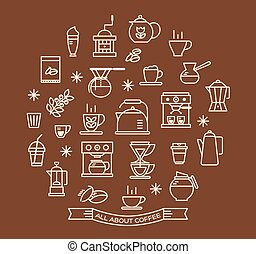 Coffee outline icons set