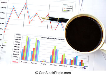 coffee over financial documents