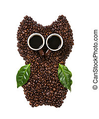 Coffee owl from beans