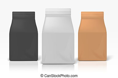 Coffee package. Realistic white black and brown zip package for flour pasta or sugar. Vector illustration blank food pack mockups for brand design made of paper or plastic