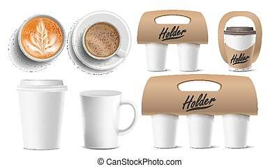 Coffee Packaging Vector. Cups Mock Up. Ceramic And Paper, Plastic Cup. Top, Side View. Cups Holder For Carrying, One, Two, Three Cups. Hot Drink. Take Away Cafe Coffee Cups Holder Mockup. Isolated Illustration