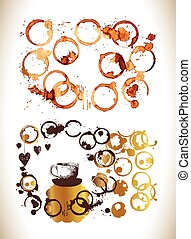 Coffee paint stains splashes and harts - Coffee cup marks...