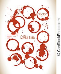 Coffee paint stains splashes isolated on white