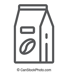 Coffee paper bag line icon, coffee and cafe, coffee beans pack sign vector graphics, a linear pattern on a white background, eps 10.