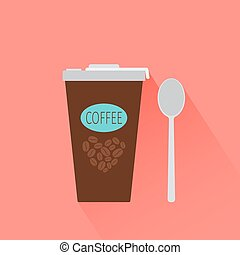 Coffee paper cup icon with shadow