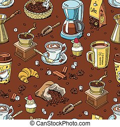 Coffee pattern seamless coffeebeans and coffeecup vector...