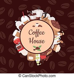 Coffee pattern vector coffeebeans and coffeecup drink hot...