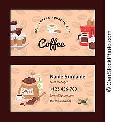 Coffee pattern vector coffeebeans business card coffeecup...