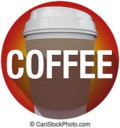 Coffee Plastic Cup Word Long Shadow Circle Seal