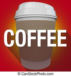 Coffee Plastic Cup Word Long Shadow Hot Beverage