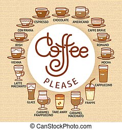 Coffee Please card. Set of cute various beverage icons.