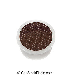 Coffee pods on white background