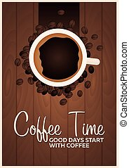 Coffee Poster. Coffee Time. Cup, grain, Vector flat illustration.