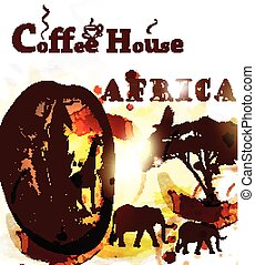 Coffee poster with coffee grain, spots and african animals...