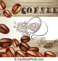 Coffee poster with frosted grains - Coffee vector background...