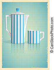 Coffee pot and cup in retro style