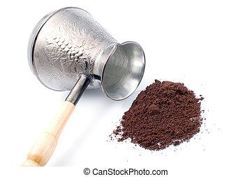 Coffee pot and ground coffee