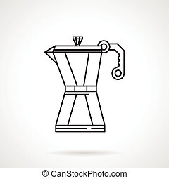 Coffee pot black line vector icon