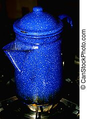 Blue graniteware coffee pot is a favorite early morning sight.