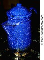 Coffee Pot - Blue graniteware coffee pot is a favorite early...