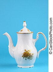 Coffee pot from czech service white with ornament roses...